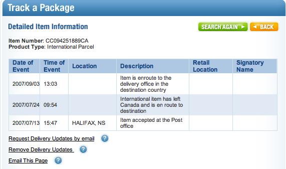 canada postal service